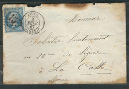 FRANCE 1867 N° 22  S/Lettre Obl. GC 5015 Bone - 1862 Napoleon III