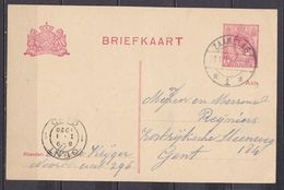 31-12-1920 Briefkaart (NVPH 60) Met Langebalkstempel ZAAMSLAG 1 Van Zaamslag Naar Gent (B) - Cartas