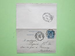 Entier FRANCE CARTE-LETTRE Oblitéré CLAMECY à NEVERS & PREMERY écrite à ARTHEL (58) 27/08/1901 Type Sage 15c Bleu - Marcophilie (Lettres)
