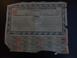 ACTION 1930 Cie DES HAUTS FOURNEAUX ET FONDERIES DE GIVORS SIEGE SOCIAL GIVORS - Industrie
