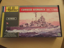 Maquette Plastique HELLER : 1/2000e CUIRASSE NAZI BISMARCK (ancienne Gamme Heller Cadet) - Bâteaux
