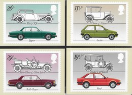 INGHILTERRA - BRITISH MOTOR CARS - 1982 - SERIE COMPLETA  4 CARTOLINE  - EDIT. HOUSE OF QUESTA - NUOVE - Francobolli (rappresentazioni)