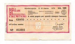 Italia - Miniassegno Da Lire 100 Emesso Dalla Banca Popolare Del Montefeltro E Del Metauro Nel 1976 - (FDC13010) - [10] Assegni E Miniassegni
