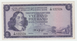 South Africa 5 Rand 1967 - 1974 VF+ Pick 112b 112 B - Afrique Du Sud