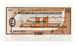Italia - Miniassegno Da Lire 50 Emesso Dalla Banca Di Trento E Bolzano Nel 1977 - (FDC13011) - [10] Assegni E Miniassegni