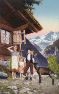 AL41 Family With Goat In Swiss Mountains - Switzerland