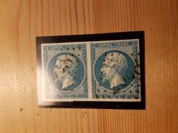 N°14, 20 Cts Bleu, Paire, Variété. - 1853-1860 Napoléon III