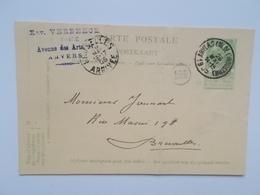 1905 Oude Postkaart, Gele Briefkaart  VERBEECE, Anvers Vers  JAMMART, Bruxelles, Manuscript - Entiers Postaux