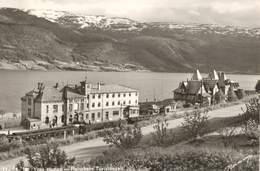Postcard RPPC Norway Voss Stasjon Railway Station Train Fliescher's Turisthotell 1940s ? 1950s ? - Norvège