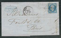 FRANCE 1862 N° 14   S/Lettre Obl. PC 4226 Nice - 1853-1860 Napoleon III