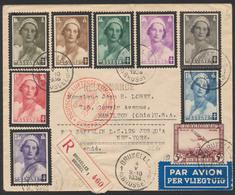 Série Antituberculeux (Reine Astrid 8 Valeurs) Par Avion En R De Bruxelles (1936) Vers Hamilton Par ZEPPELIN Jusqu'a New - Belgium