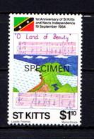ST KITTS    1st  Anniv  Of  Independence   $1-10  National  Anthum   ( SPECIMEN )    MNH - St.Kitts And Nevis ( 1983-...)