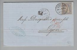 Heimat CH ZHs Zürich Filiale 1870-01-31 Brief Nach Lyon Mit 30 Rp. Sitzende H. - 1862-1881 Helvetia Assise (dentelés)