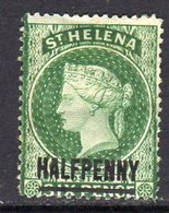 St. Helena QV 1884-94 HALFPENNY On 6d Green Surcharge, Hinged Mint, SG 36 - Saint Helena Island
