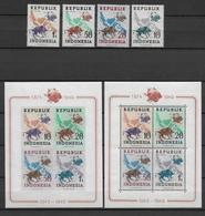 75 ANS UPU - INDONESIA - 1949 - MICHEL N° 179/182 + BL 1 A/B ** MNH - EMISSIONS LOCALES - Indonésie
