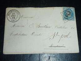 """LETTRE GROS CHIFFRE 1813 - 1868 """" HUCQUELIERS """" - 62 PAS DE CALAIS (AD) - 1849-1876: Période Classique"""