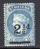 St. Helena QV 1884-94 2½d On 6d Ultramarine Surcharge, Lightly Hinged Mint, SG 40 - Saint Helena Island