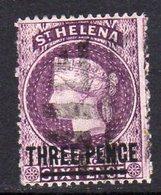 St. Helena QV 1884-94 THREE PENCE On 6d Deep Mauve Surcharge, Used, SG 41 - Saint Helena Island