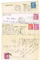 QUATRE FLIER DIFFERENTS DE NICE SUR CPA - Postmark Collection (Covers)