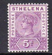 St. Helena QV 1890-7 5d Mauve Definitive, Wmk. Crown CA, Hinged Mint, SG 51 - Saint Helena Island