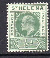 St. Helena EVII 1902 ½d Green Definitive, Wmk. Crown CA, Hinged Mint, SG 53 - Saint Helena Island