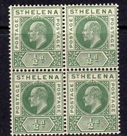 St. Helena EVII 1902 ½d Green Definitive Block Of 4, Wmk. Crown CA, MNH, SG 53 - Saint Helena Island