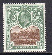 St. Helena EVII 1903 ½d Brown & Grey-green Definitive, Wmk. Crown CC, Hinged Mint, SG 55 - Saint Helena Island