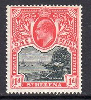 St. Helena EVII 1903 1d Black & Carmine Definitive, Wmk. Crown CC, Lightly Hinged Mint, SG 56 - Saint Helena Island