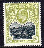 St. Helena EVII 1903 2d Black & Sage-green Definitive, Wmk. Crown CC, MNH, SG 57 - Saint Helena Island