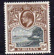 St. Helena EVII 1903 8d Black & Brown Definitive, Wmk. Crown CC, Lightly Hinged Mint, SG 58 - Saint Helena Island