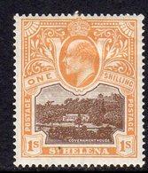 St. Helena EVII 1903 1/- Brown & Brown-orange Definitive, Wmk. Crown CC, Lightly Hinged Mint, SG 59 - Saint Helena Island