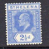St. Helena EVII 1908 2½d Blue Definitive, Wmk. Multiple Crown CA, Hinged Mint, SG 64 - Saint Helena Island