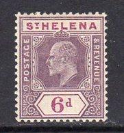 St. Helena EVII 1908 6d Dull & Deep Purple Definitive, Wmk. Multiple Crown CA, Hinged Mint, SG 67 - Saint Helena Island