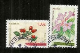 Le Laurier Rose, & Baies D'églantier, Flore D'Andorre,  Deux Timbres Oblitérés,  1 ère Qualité, Année 2011 - Andorre Français