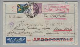 S-Am. Brasilien 1934-02-20 Sao Paulo Luftpost Nach Beuron Weitergeleitet Nach Davos-Dorf - Lettres & Documents