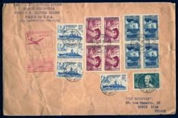 PREMIER VOL FRANCE-USA VIA MARSEILLE- LETTRE GRAND FORMAT AVEC TRES BEAU TIMBRAGE- CAD DU 24-5-1939- 2 SCANS - Luftpost