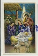 Joyeux Noël. Crèche. Sainte Famille, Etoile, Berger, Agneaux, Boeuf, âne. Dorée. CECAMI. Glacée - Noël
