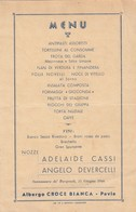 """9088-MENU ALBERGO """"CROCE BIANCA"""" DI PAVIA-15 GIUGNO 1946 - Menu"""
