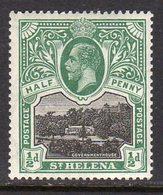 St. Helena GV 1912-16 ½d Black & Green, Wmk. Multiple Crown CA, Hinged Mint, SG 72 - Saint Helena Island