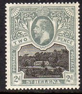 St. Helena GV 1912-16 2d Black & Grey-slate, Wmk. Multiple Crown CA, Lightly Hinged Mint, SG 75 - Sainte-Hélène