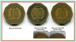 Lot De 3 Pièces  Décagonales De 10 Dinars  Dont La Très Rare Pièce De 1981 Avec Stries Au Dessus Du 10 - Algérie
