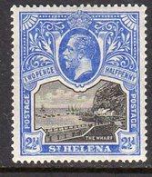 St. Helena GV 1912-16 2½d Black & Bright Blue, Wmk. Multiple Crown CA, Lightly Hinged Mint, SG 76 - Saint Helena Island