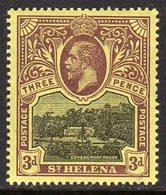 St. Helena GV 1912-16 3d Black & Purple On Yellow Paper, Wmk. Multiple Crown CA, Hinged Mint, SG 77 - Saint Helena Island
