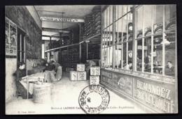 RARE CPA PRIVÉE FRANCE- BEZIERS (34)- MAISON J. LACROIX CADET- EXPÉDITION DES SAVONS ET CAFÉS- ANIMATION- 2 SCANS - Beziers