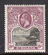 St. Helena GV 1912-16 3d Black & Dull Purple, Wmk. Multiple Crown CA, Hinged Mint, SG 78 - Saint Helena Island