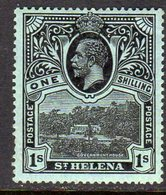 St. Helena GV 1912-16 1/- Black On Green Paper, Wmk. Multiple Crown CA, Hinged Mint, SG 79 - Saint Helena Island