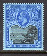 St. Helena GV 1912-16 2/- Black & Blue On Blue Paper, Wmk. Multiple Crown CA, Hinged Mint, SG 80 - Sainte-Hélène
