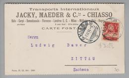 Schweiz 1914-11-07 Perfin Auf CK #J023 Nach Zittau Sachsen Jacky Maeder Chiasso - Suisse