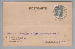 Schweiz 1920-11-11 Corr.karte Mit Perfin # B 052 Nach Frutigen A.-G.vorm.B.Siegfried Zofingen - Suisse