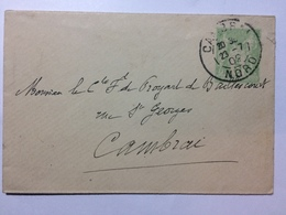 FRANCE 1902 Cover Cambrai Postmark Pre-paid 5 Centimes Green - France